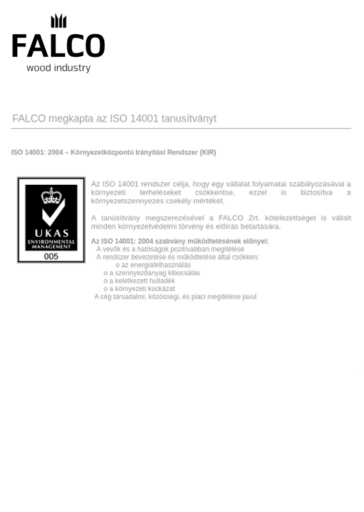 ISO 14001 tanúsítvány